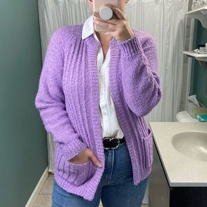Vintage Lilac Boucle Knit Chunky Cardigan Sweater